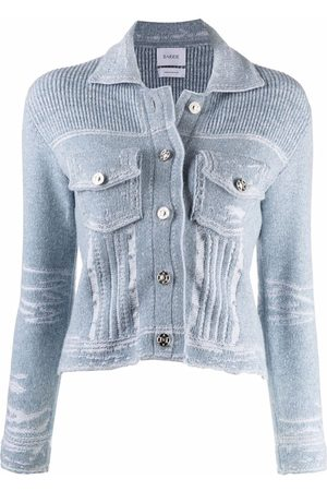 Barrie Distressed ribbed-knit jacket
