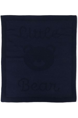 LITTLE BEAR Logo intarsia virgin wool blanket