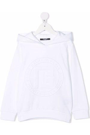 Balmain Debossed-logo cotton hoodie