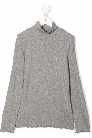 MONNALISA Mock-neck rhinestone-detail jumper