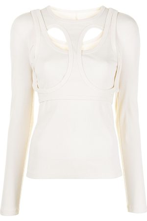 DION LEE Cut-out layered cotton top