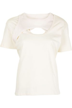 DION LEE Cut-out layered cotton T-shirt