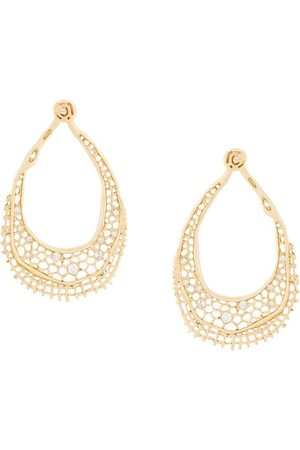 Aurelie Bidermann 18kt yellow gold diamond vintage lace earrings