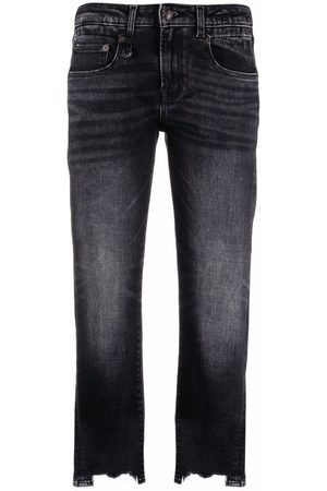 R13 Raw-cut cropped jeans