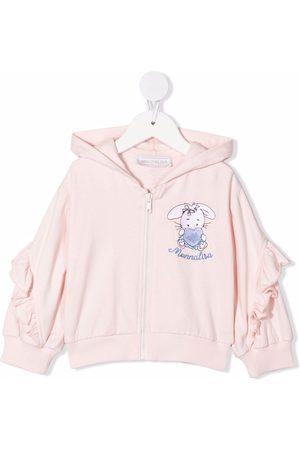MONNALISA Embroidered rabbit logo hoodie