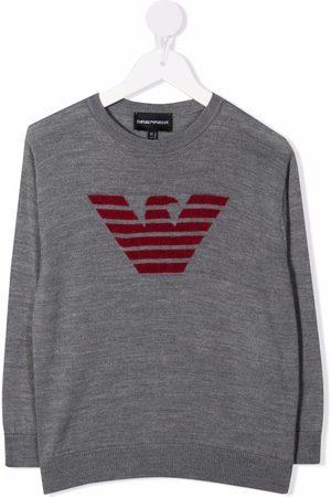 Emporio Armani Intarsia-knit logo jumper