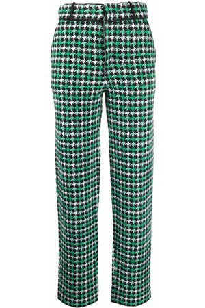 Barrie Houndstooth-print cashmere trousers