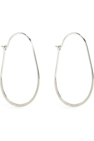 Petite Grand Hammered oval hoop earrings