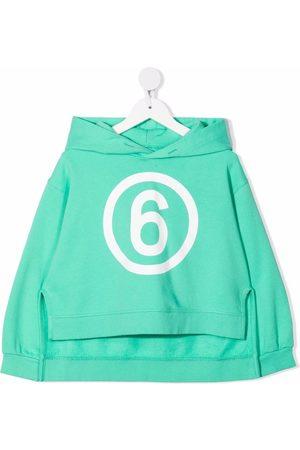MM6 KIDS Asymmetric logo-print hoodie