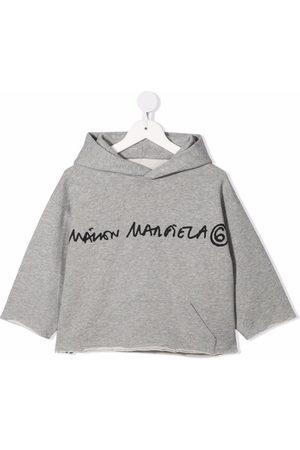 MM6 KIDS Logo-print cropped fleece hoodie