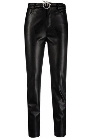 Pinko Love Birds-buckle leather trousers