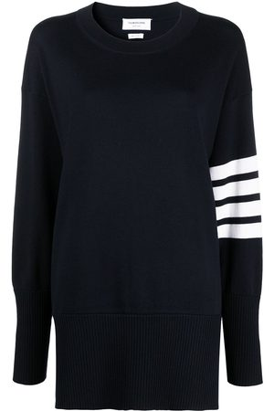 Thom Browne Exaggerated fit crew neck 4-Bar jumper