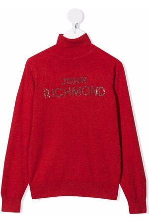 John Richmond Junior Logo-embellished roll neck jumper