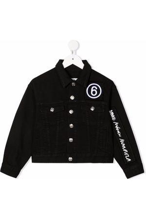 MM6 KIDS Embroidered-logo denim jacket