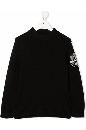 Stone Island Embroidered-logo ribbed-trim jumper