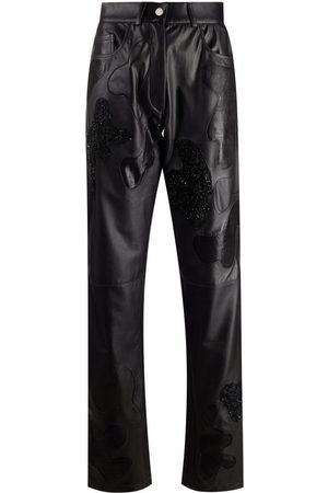 ALMAZ Wide-leg lambskin trousers