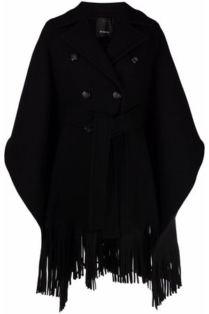 Pinko Double-breasted draped tassel poncho