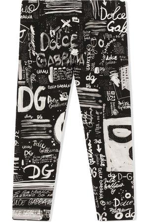 Dolce & Gabbana Graffiti-print stretch-cotton leggings