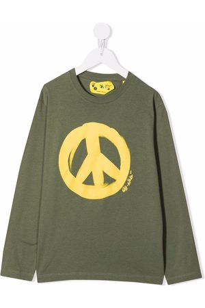 Off-White Kids OFF PEACE TEE L/S MILITARY YELLOW