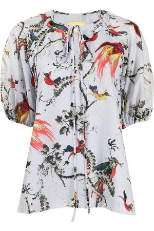 Erdem Parrot-print tie-neck blouse