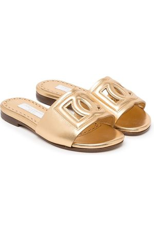 Dolce & Gabbana Logo-detail metallic-effect sandals