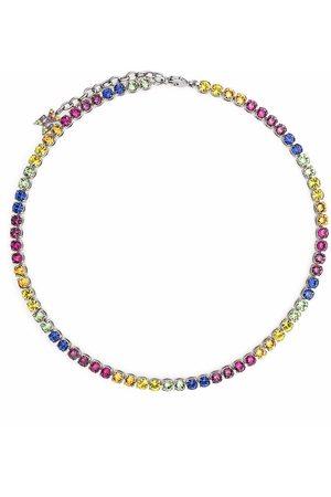 Amina Muaddi Tennis rainbow necklace