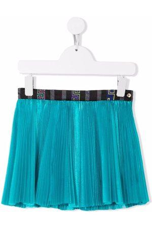 VERSACE Logo-waistband pleated skirt