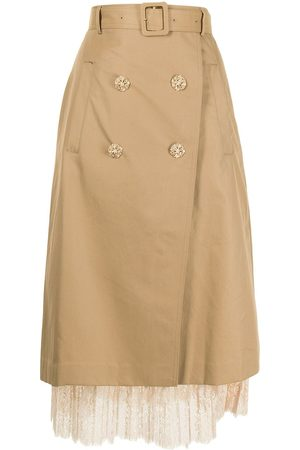 BAPY Floral-lace detail trench skirt
