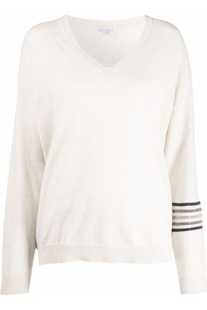 Brunello Cucinelli Stripe-detail cashmere jumper