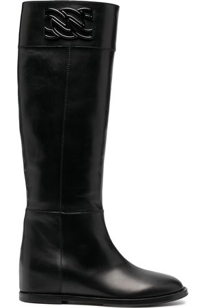 Casadei Leather knee-high boots