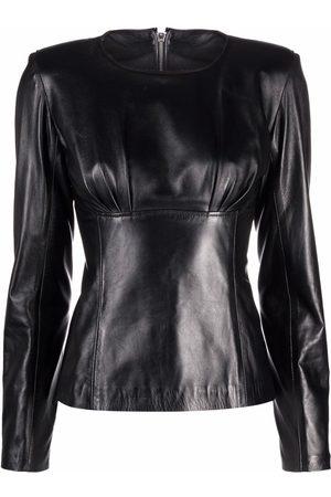 Manokhi Long-sleeve panelled leather top
