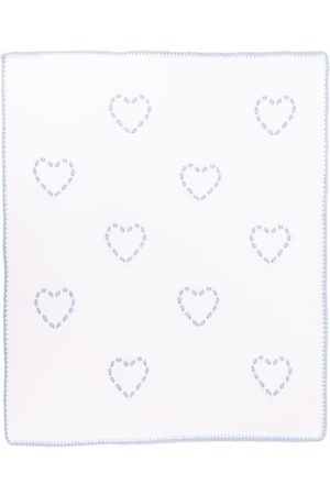 SIOLA Heart-embroidered knitted blanket