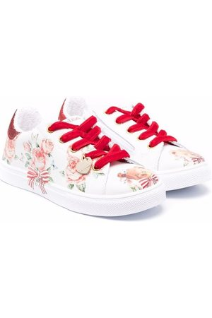 MONNALISA Floral-print lace-up trainers