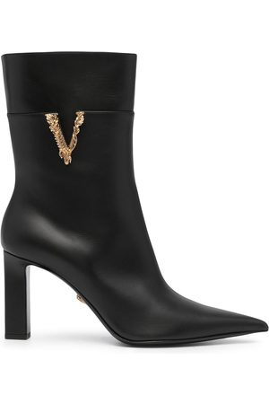 VERSACE Logo-plaque pointed-toe boots