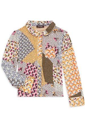 Imoga Girls Shirts - Little Girl's & Girl's Sweet Harmony Patchwork-Print Shirt