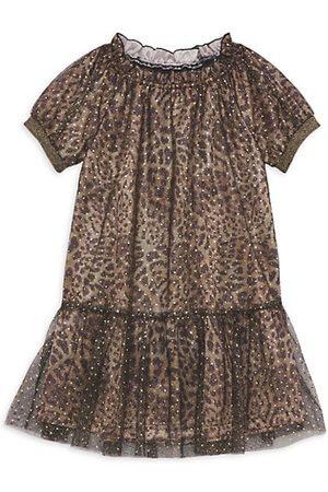 Imoga Girls Printed Dresses - Little Girl's Cheetah-Print Glitter Dress