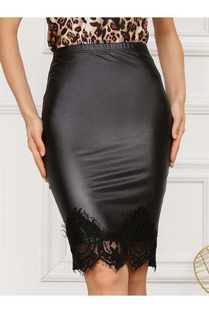 Yoins Faux Leather Lace Hem Midi Skirt