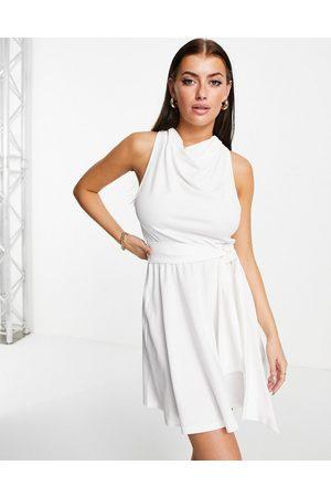 ASOS DESIGN Women Evening Dresses - High neck scarf belted skater mini dress in ivory