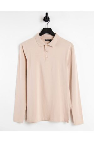 ASOS DESIGN Organic muscle fit long sleeve jersey polo in -Neutral