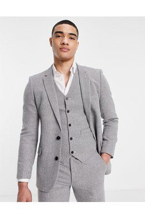 ASOS DESIGN Wedding super skinny wool mix suit jacket in puppytooth
