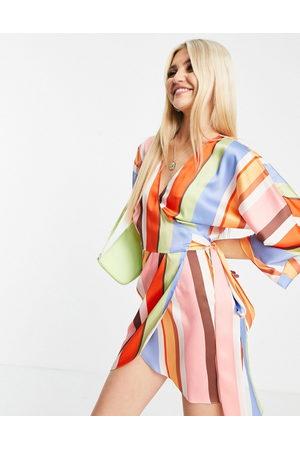 ASOS DESIGN Women Printed Dresses - Wrap mini dress in 70s stripe print-Multi