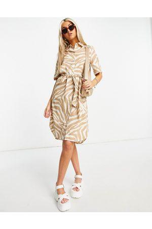Only Women Casual Dresses - Mini shirt dress in tan animal print-Multi