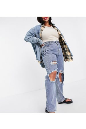 In The Style Women Straight - X Olivia Bowen distressed denim straight leg jean in washed
