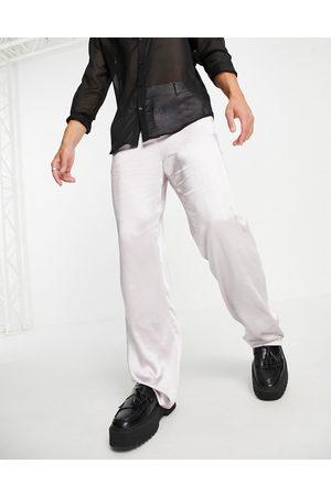 ASOS Men Wide Leg Pants - Satin wrap detailing wide leg suit trousers in