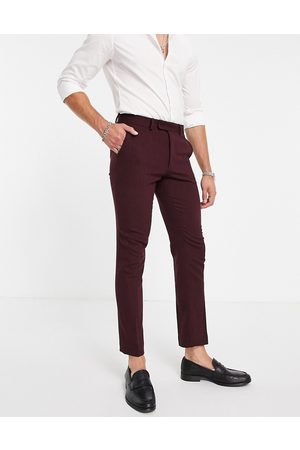 ASOS Men Formal Pants - Wedding skinny wool mix suit trousers in burgundy herringbone