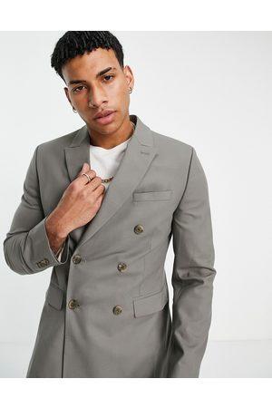 ASOS Skinny suit double breasted khaki suit jacket