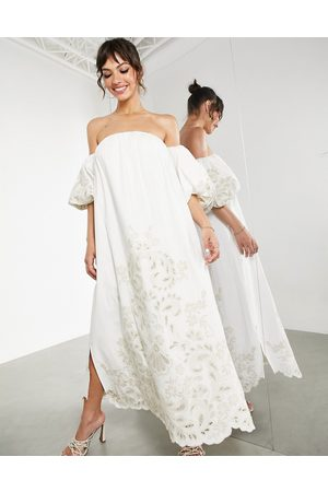 ASOS Women Midi Dresses - Off shoulder midi dress with tonal placement embroidery in ivory