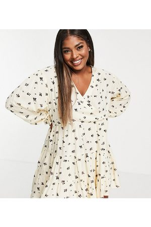Native Youth Women Casual Dresses - Very oversized wrap front smock dress in panda party print-Neutral