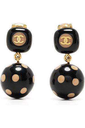 CHANEL 2000s polka dot ball dangle earrings