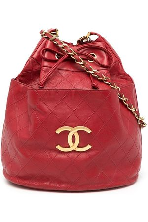 CHANEL 1990 diamond-quilted CC bucket shoulder bag